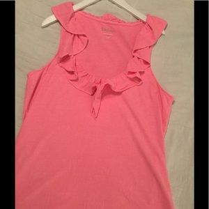 Lilly Pulitzer pink ruffled tank size XLG